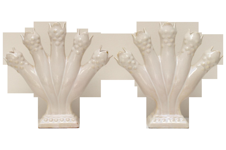 Portuguese tulipiere pottery vases a pair portuguese pottery a lovely pair of portuguese pottery 5 finger tulipiere vases glazed white reviewsmspy