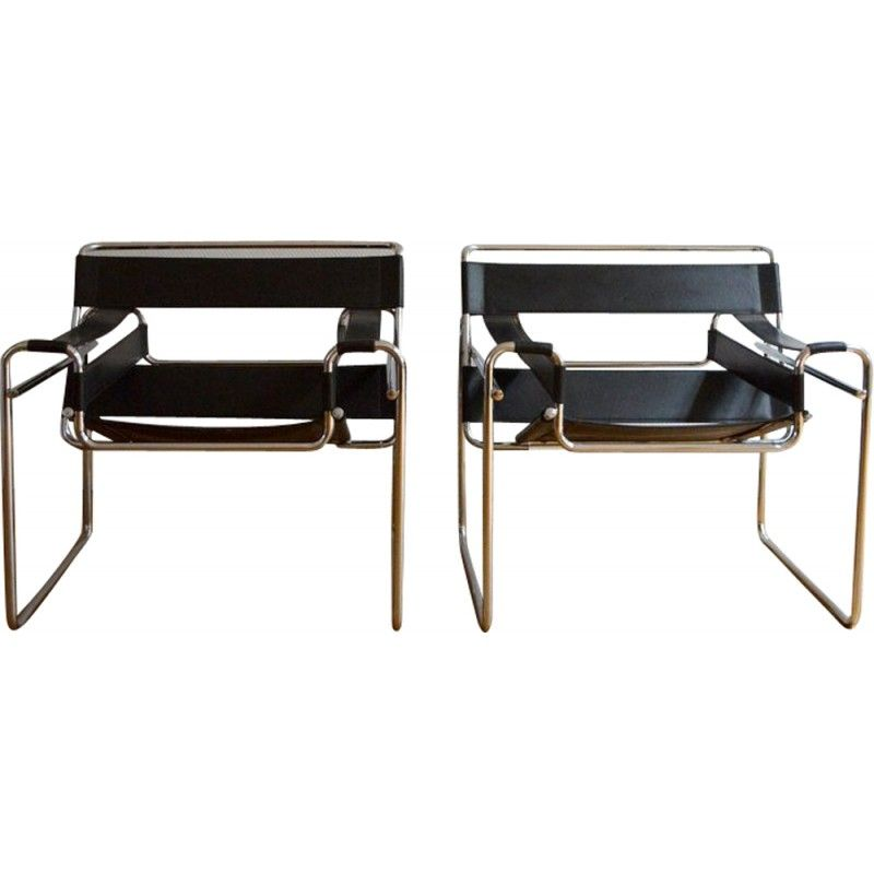 paire de fauteuils wassily par marcel breuer 1970 marcel breuer marcel et fauteuils. Black Bedroom Furniture Sets. Home Design Ideas