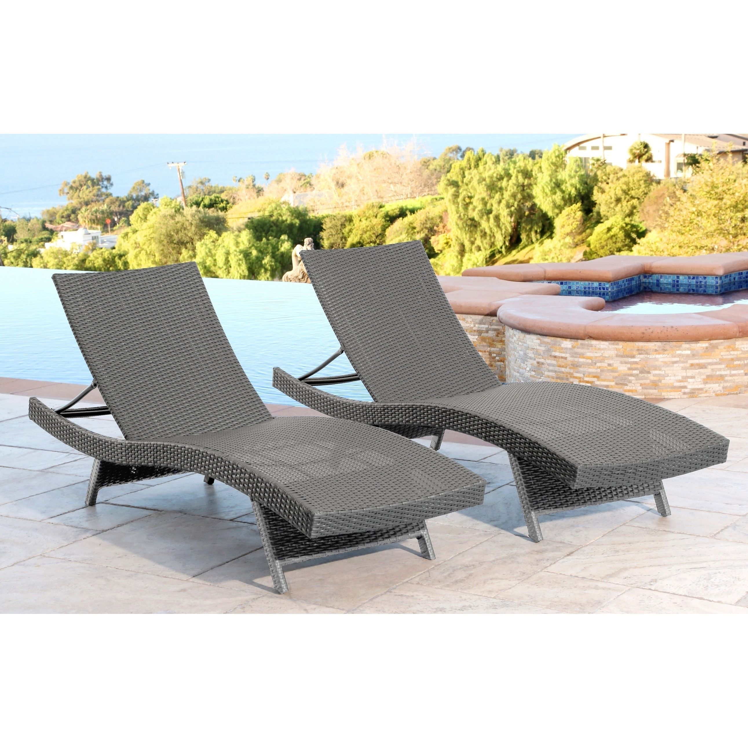 Abbyson Living Palermo Outdoor Grey Adjustable Wicker Chaise Set