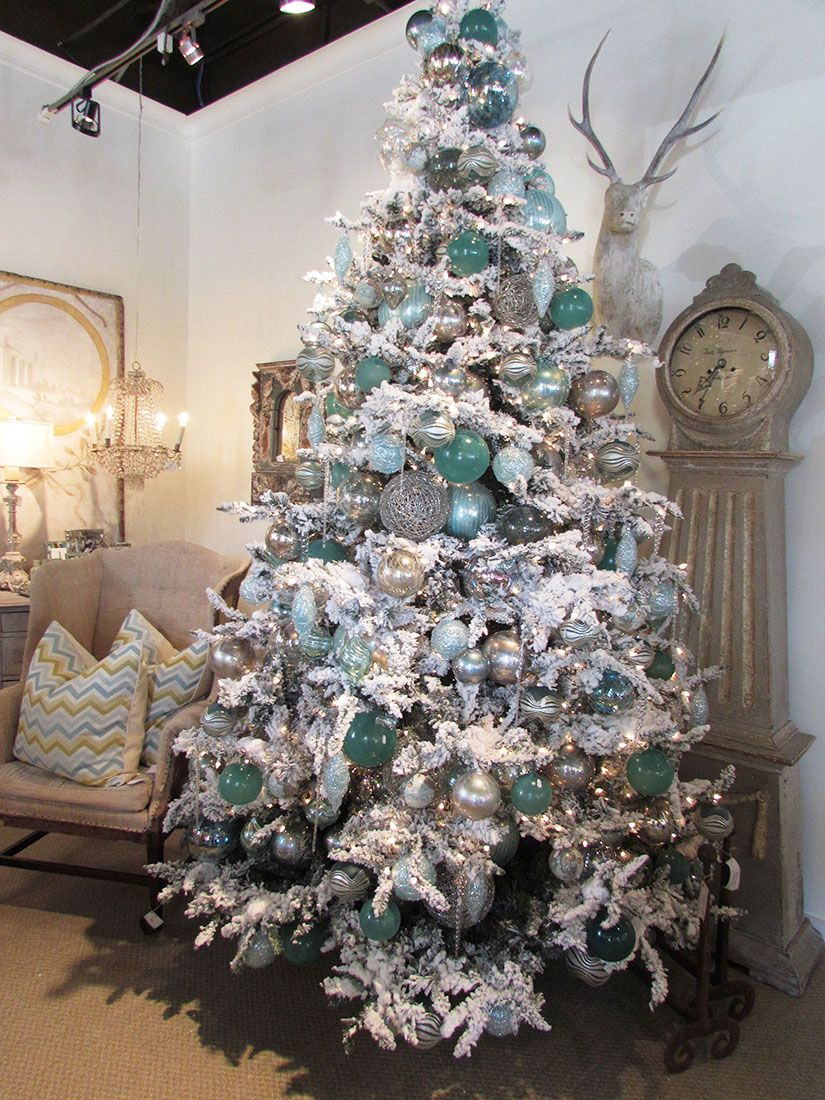 aqua and sliver on a white tree add in some navy too blue christmas tree - Flocked Christmas Tree Decorating Ideas