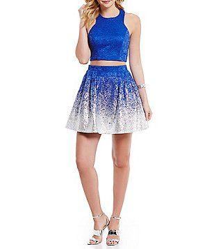 fef86b439 B. Darlin Lace Foiled-Dipped Hem Two-Piece Dress   Cute dresses in ...