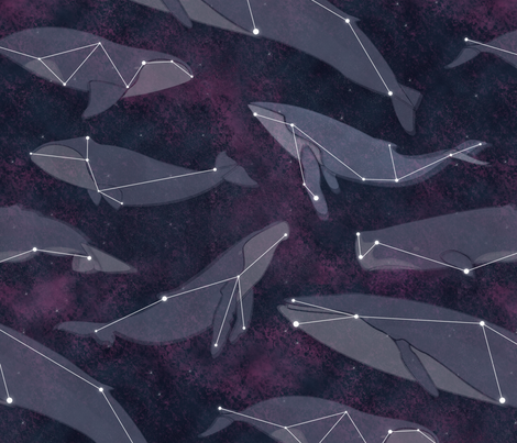 [Bathrobe] Galaxy Whales fabric by katieschrader on Spoonflower - custom fabric