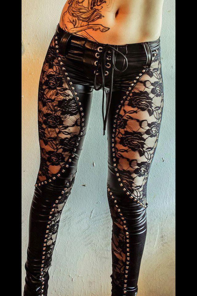 Edgy Leather and lace skinny jeans sexy goth black  7045072783