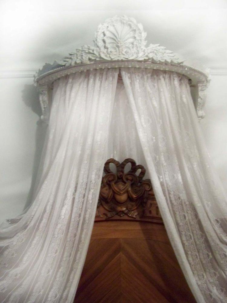 antique french style bed ciel de lit half tester bed canopy vintage chateau chic ciel de lit. Black Bedroom Furniture Sets. Home Design Ideas