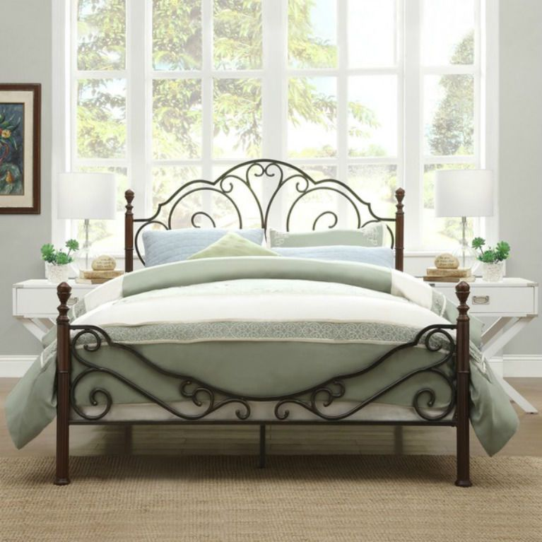 Bed Frame Iron Antique Cast Full Metal Rails Vintage Headboard King ...