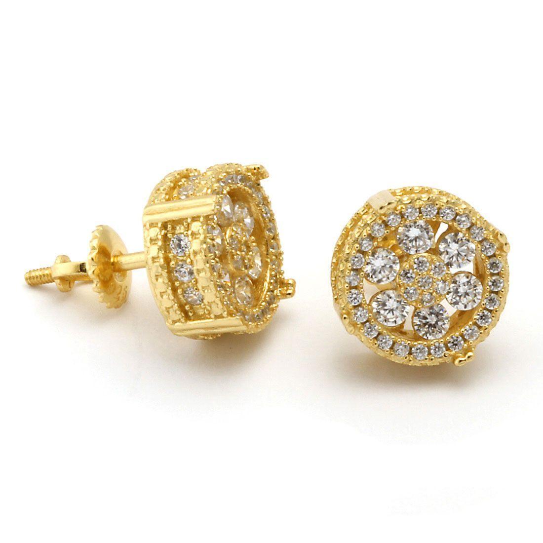 King Ice 14k Gold On Cz Earrings
