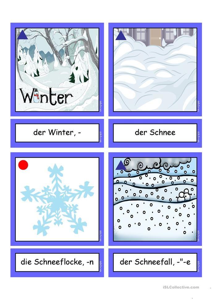 Flashcards_ Winterwörter 1 _ mittel | Basteln für Kinder ...