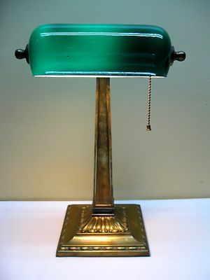 Antique Early 1900 S Brass Green Cased Glass Shade Banker Library Lamp Ebay Library Lamp Lamp Bankers Lamp