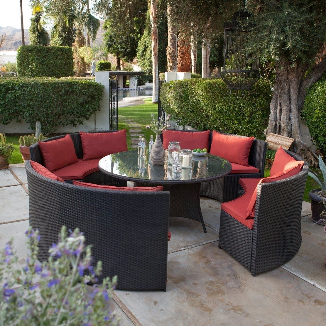 Modern 8-Seat Wicker Resin Patio Dining Set with Red Cushions #resinpatiofurniture