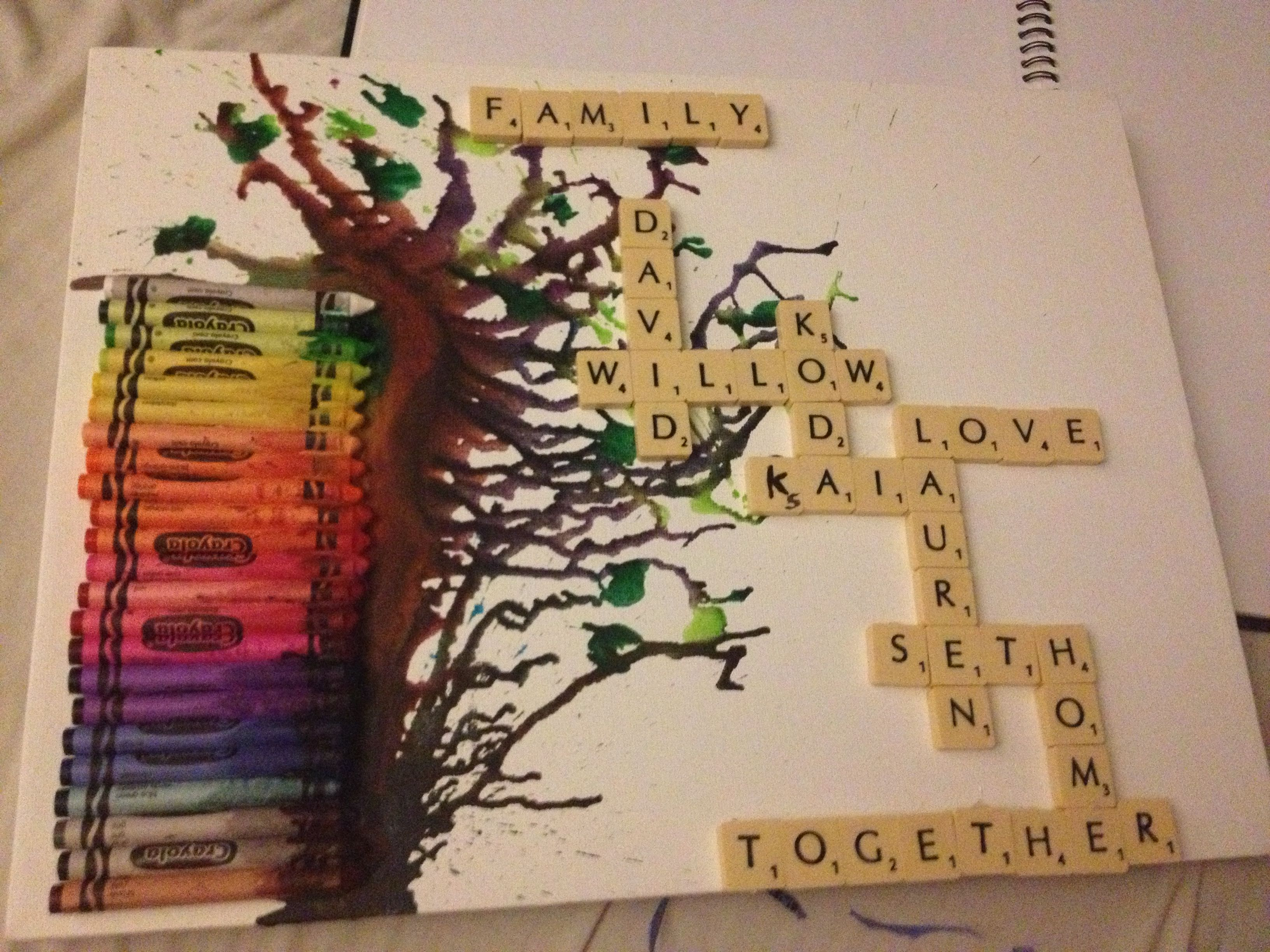 Family tree diy scrabble art made with a hair dryer, hot glue ...