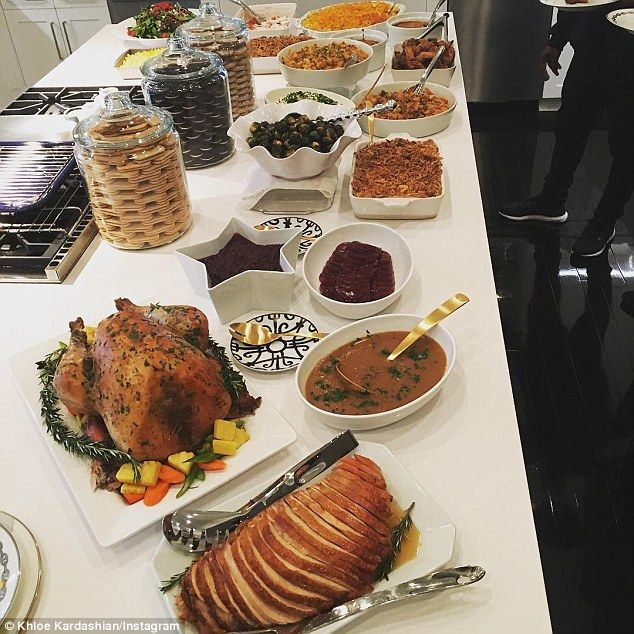 Thanksgiving spread: Khloe appears to have had the pies delivered to her home for $32 per .