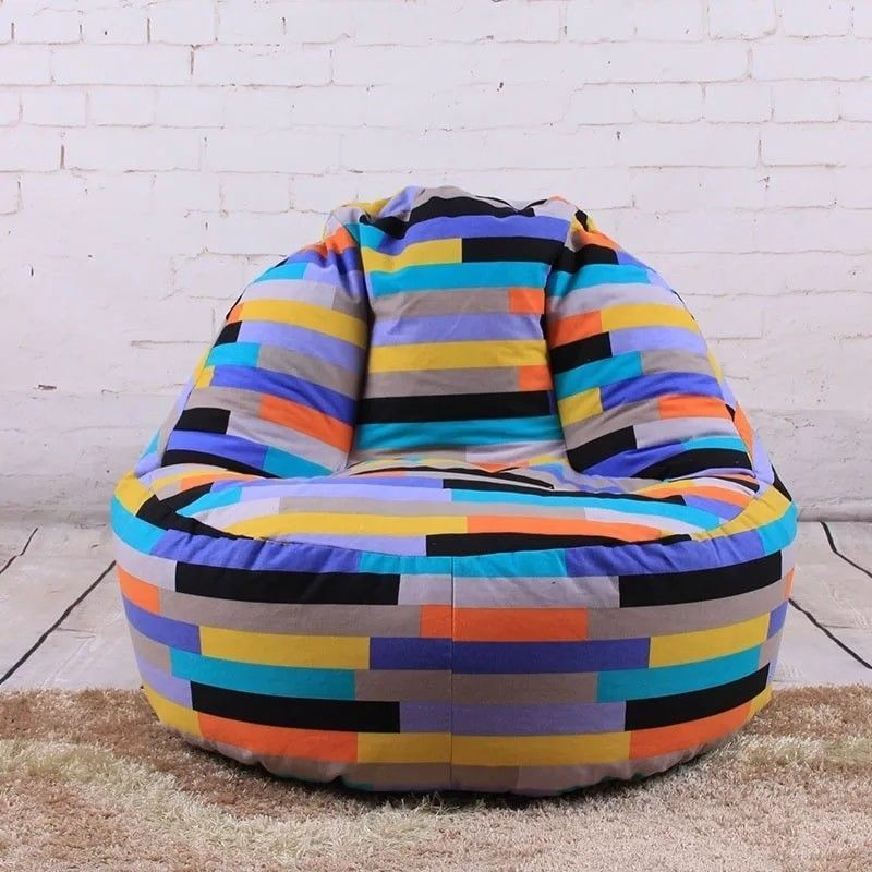 Sensational Striped Multicolored Adult Lounger Beanbag Chair Cover No Ibusinesslaw Wood Chair Design Ideas Ibusinesslaworg