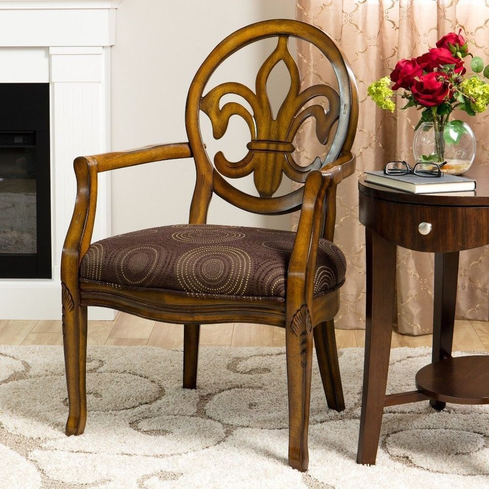 Traditional accent chairs - Details About Fleur De Lis Chocolate Traditional Accent Chair Sturdy Home Furniture New