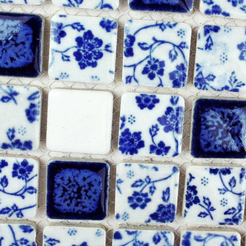 Jingdezhen ceramic mosaic background wall bathroom tile white blue ...