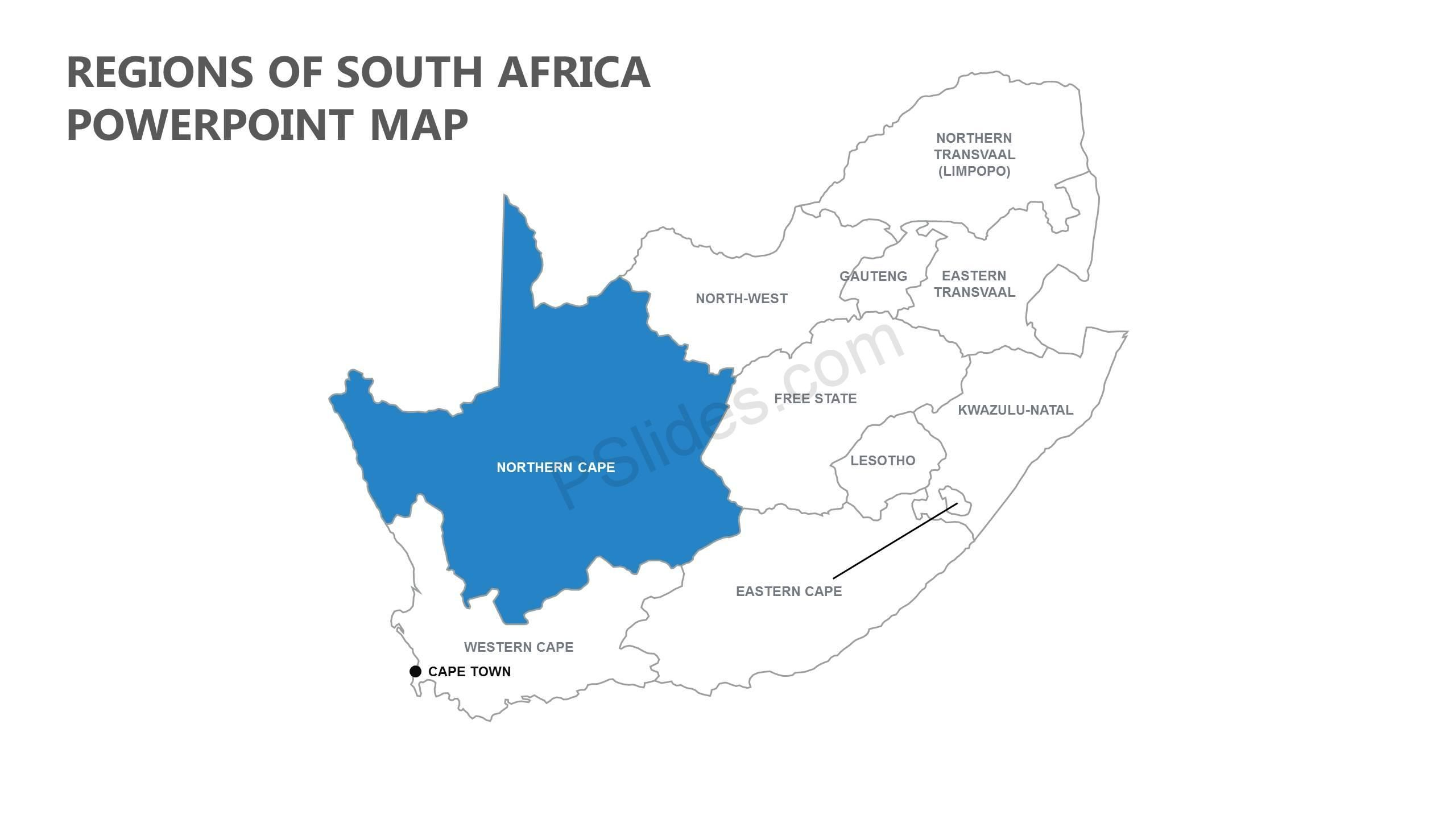 Regions of South Africa PowerPoint Map   PowerPoint Diagrams ...
