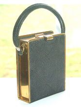 Early Gold Toned Metal and Black Purse
