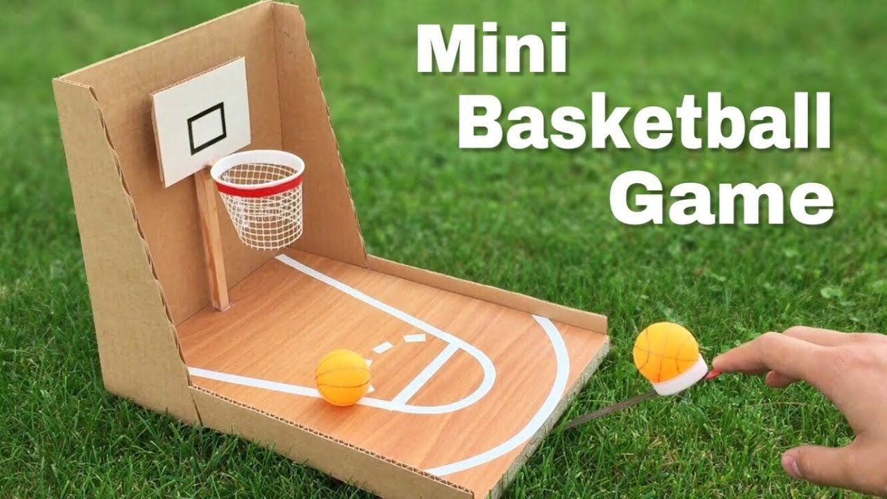 How To Make Amazing Diy Basketball Game At Home Out Of Cardboard Easy Basketball Party Basketball Games For Kids Diy Basketball