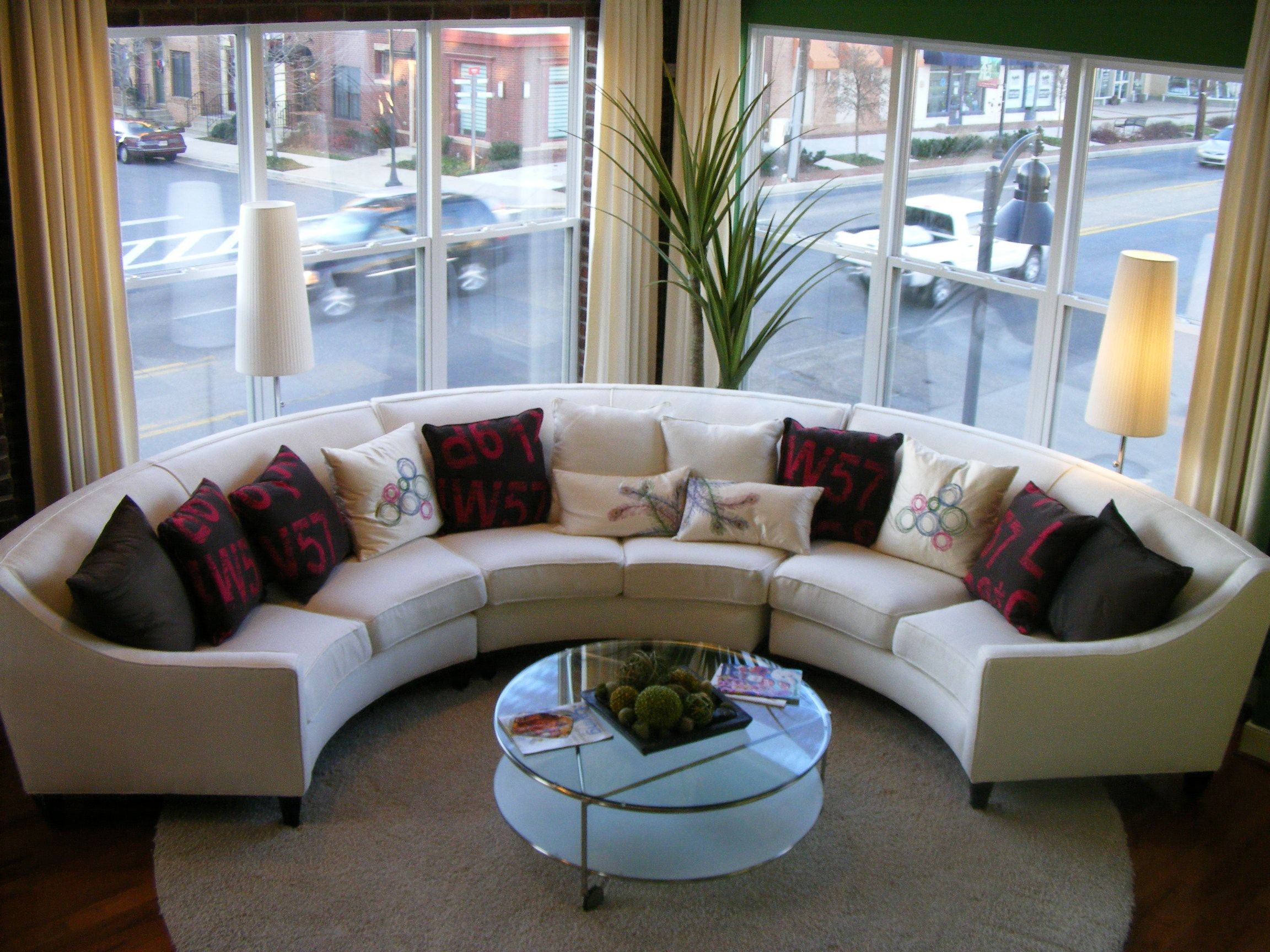 Circular Couches Living Room Furniture Cafe Rome Curved Round Sofa Sectional Sectionals