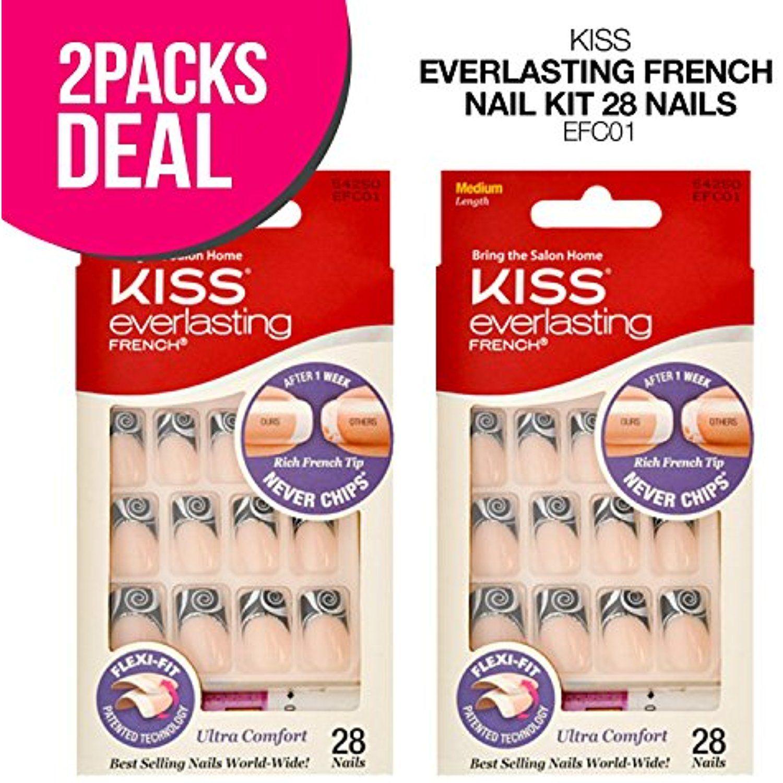 KISS Everlasting French Nail Kit, Fake Nails kit, Artificial Nails ...