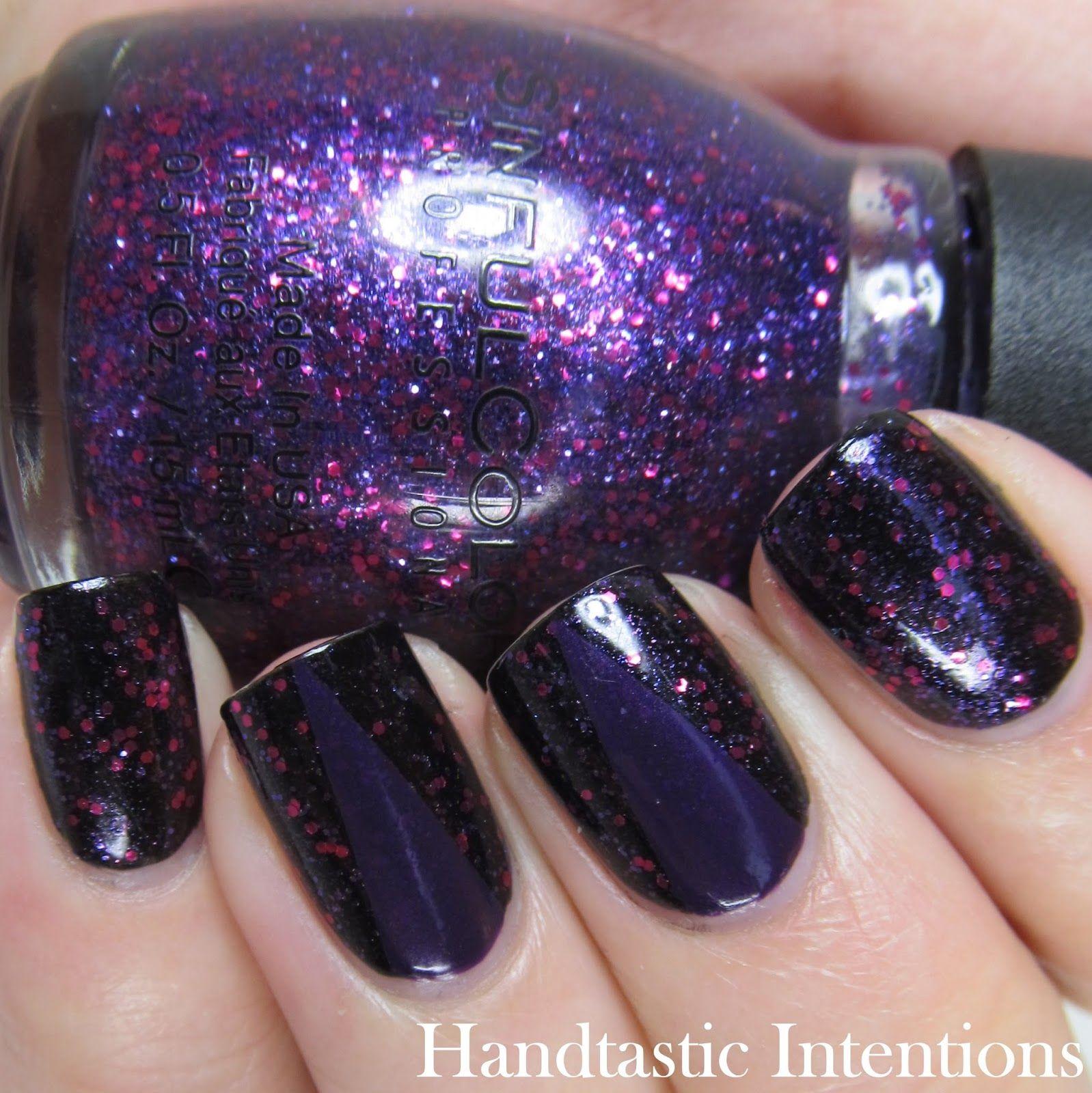 Dark Purple Nail Art (Handtastic Intentions) | Dark purple nails ...