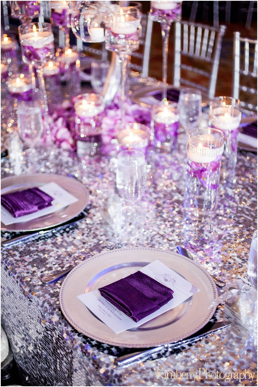 Silver And Purple Reception Decor Inspiration Purple Wedding