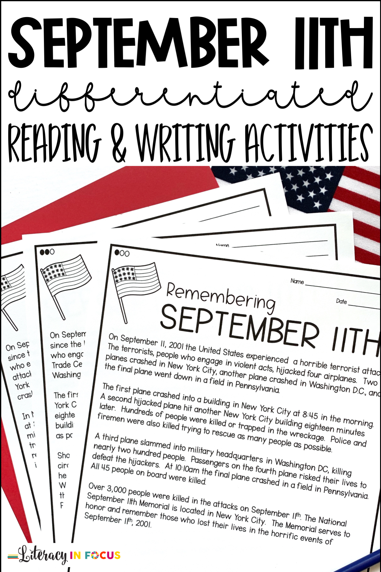 - September 11th Differentiated Reading & Writing Activities