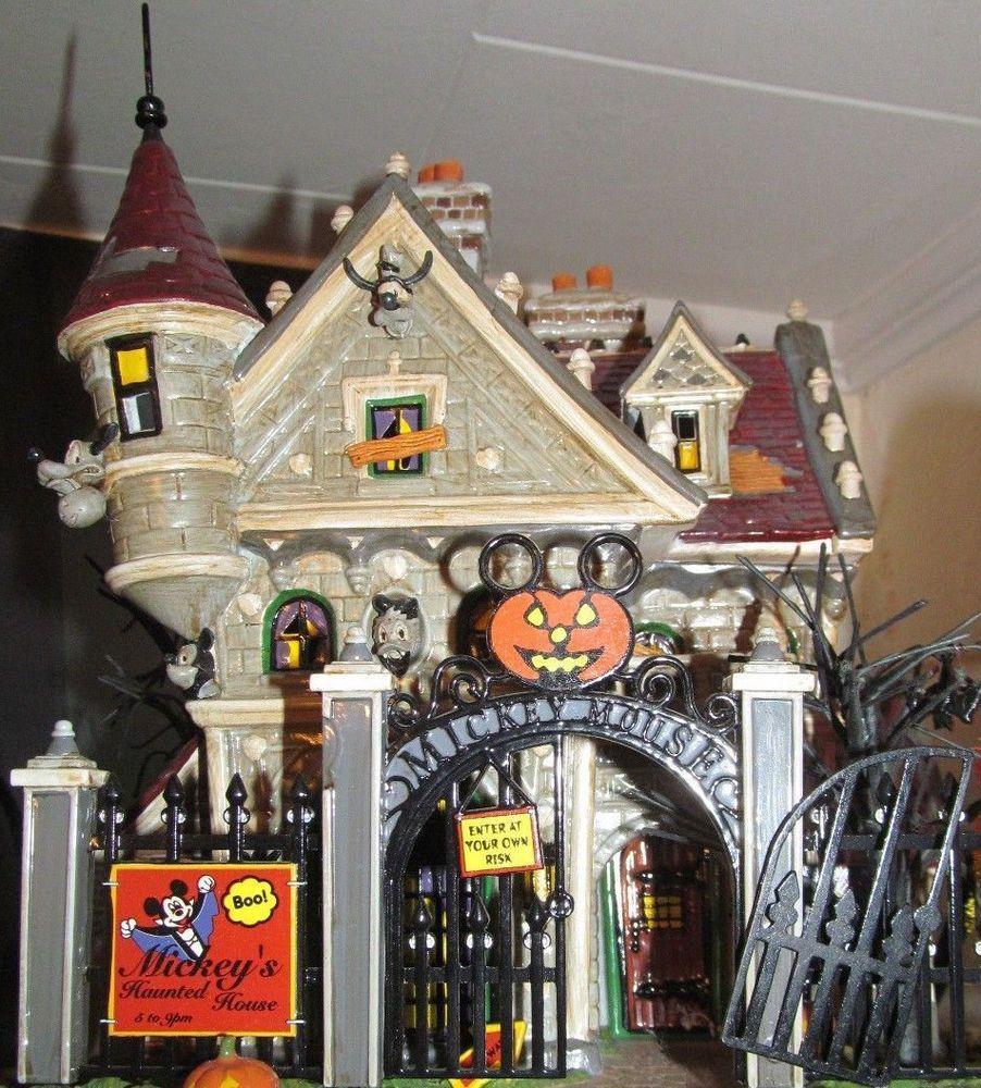 department 56 mickey's haunted house snow village halloween 56.55375