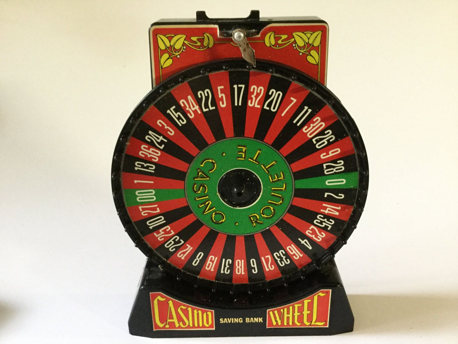 80's Casino Wheel Saving Bank Roulette Game Piggy Bank by Hannahandhersisters on Etsy