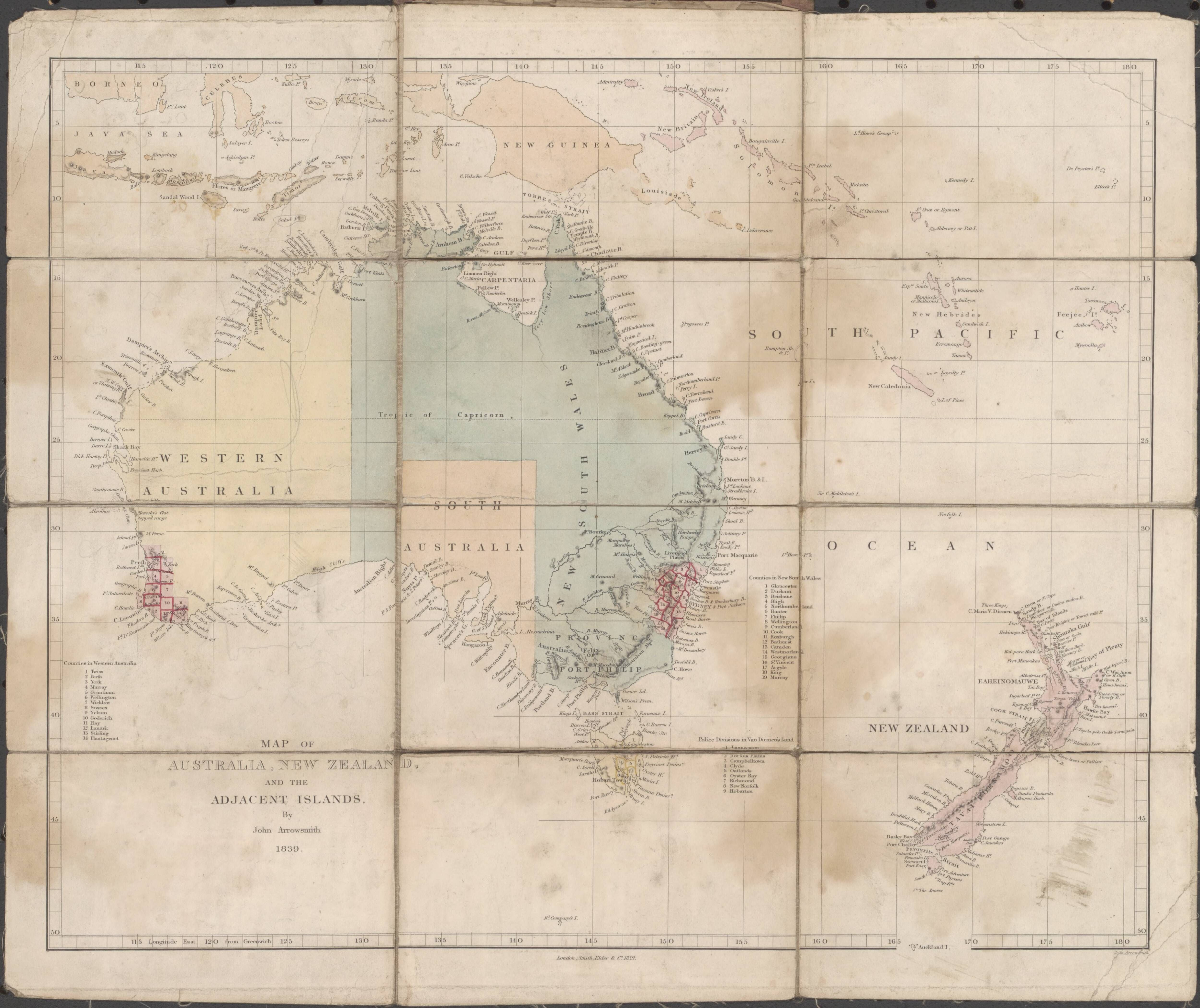 Map of Australia, New Zealand, and the adjacent islands / by John ...