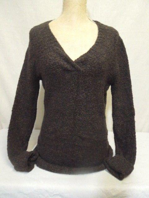 Merona Long Sleeve Sweater Wool Blend V-Neck Dark Brown Pullover ...