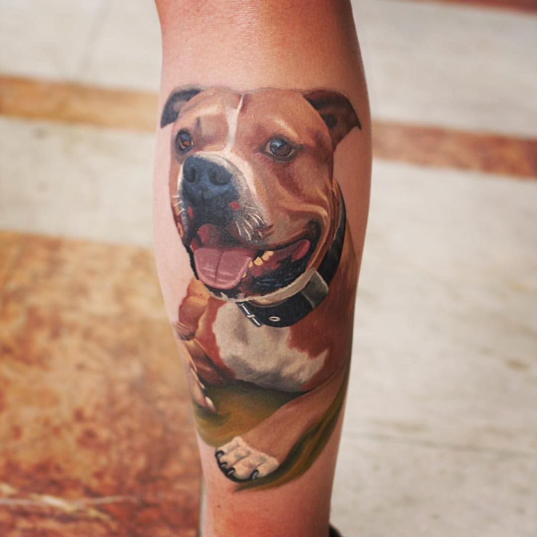 Staffy Dog Tattoo By Korky Limited Availability At Redemption Tattoo Studio Dog Tattoos Dog Tattoo Line Drawing Tattoos