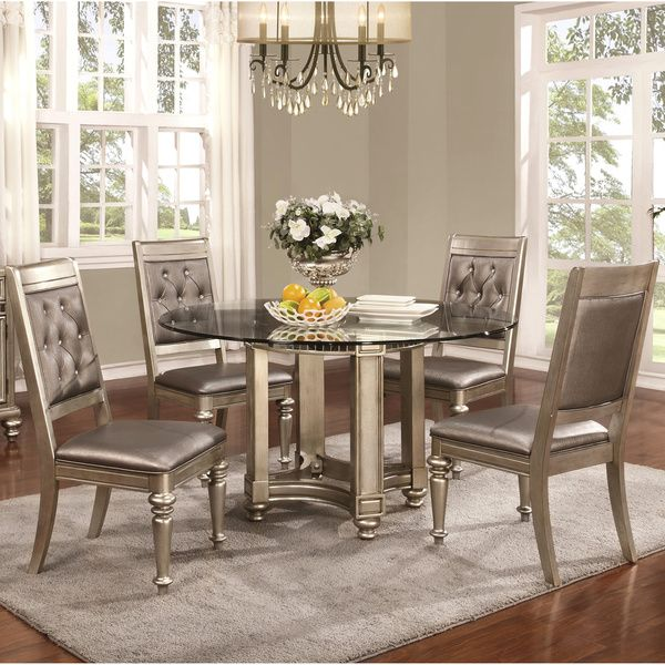 Glamorous Design Metallic Platinum Table Base with Rhinestone Tufted