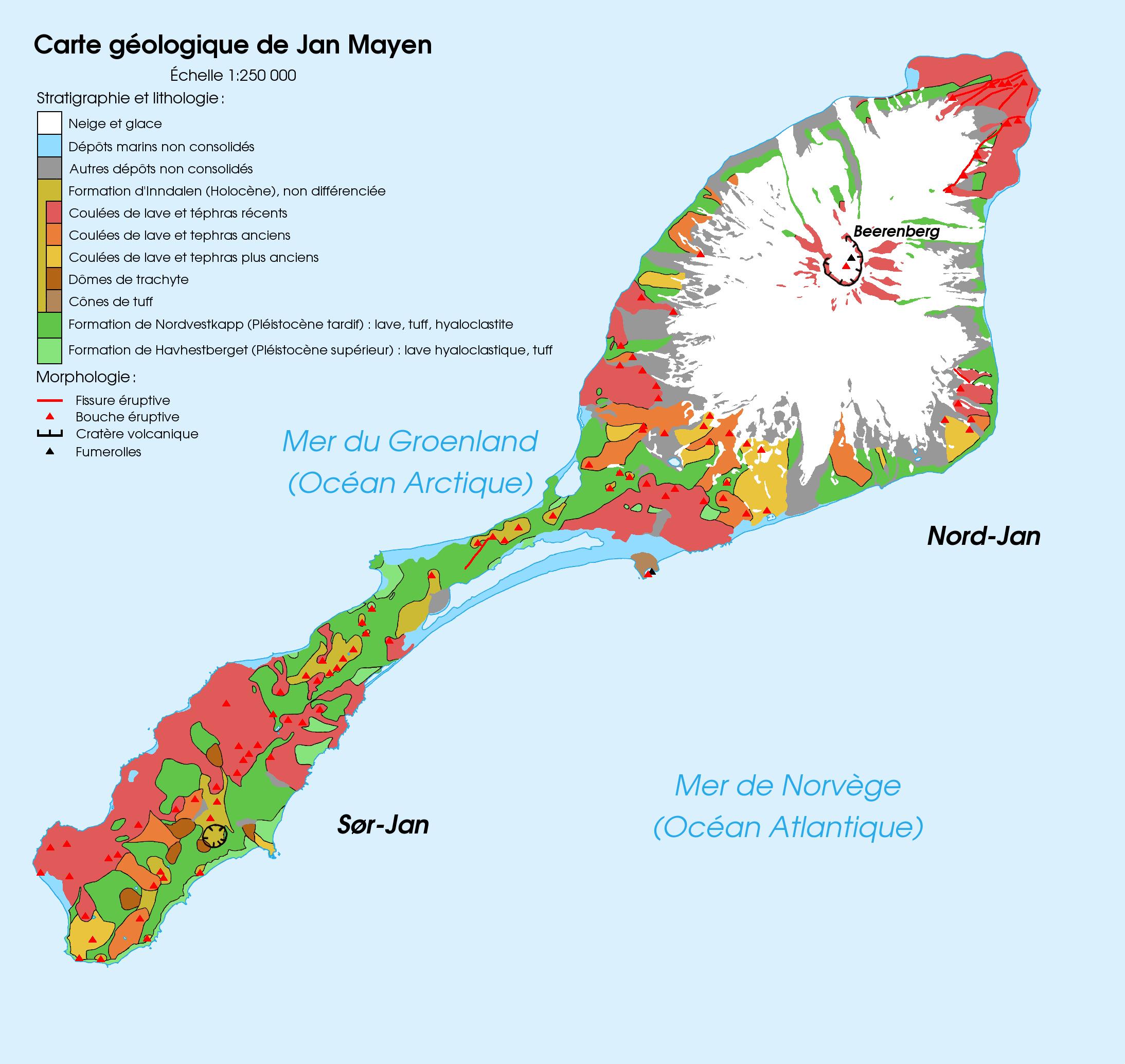 Map of Jan Mayen island, Norway