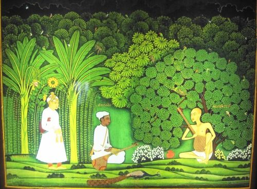 Akbar Watching Tansen As He Takes Music Lesson From Swami Haridas