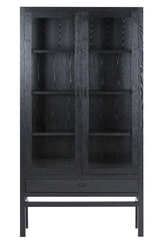 Soho+vitrineskab+-+Flot+vitrineskab+med+et+rustikt+look.+Vitrineskabets+flader+er+lavet+i+sort+finer+og+stellet+i+massiv+asketræ.+Skabe…