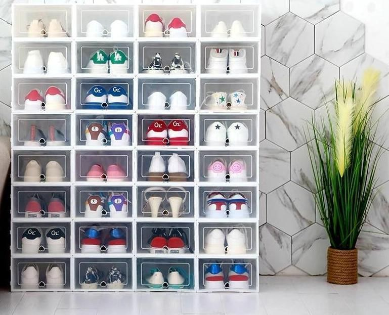 Shoe Box Orgnizer Stacking Storage Box Shoes Container Vollymart Com In 2020 Stacking Storage Boxes Shoe Box Storage Shoe Box Organizer