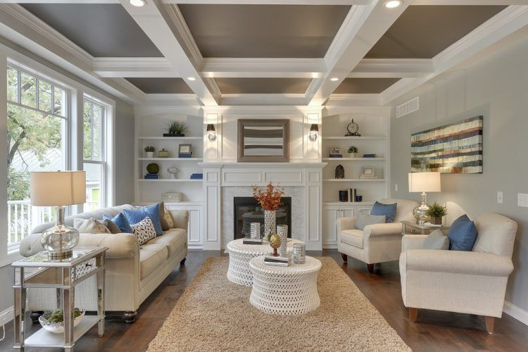 10 Beautiful Living Rooms With Coffered Ceilings Craftsman Living Rooms Coffered Ceiling Design Coffered Ceiling