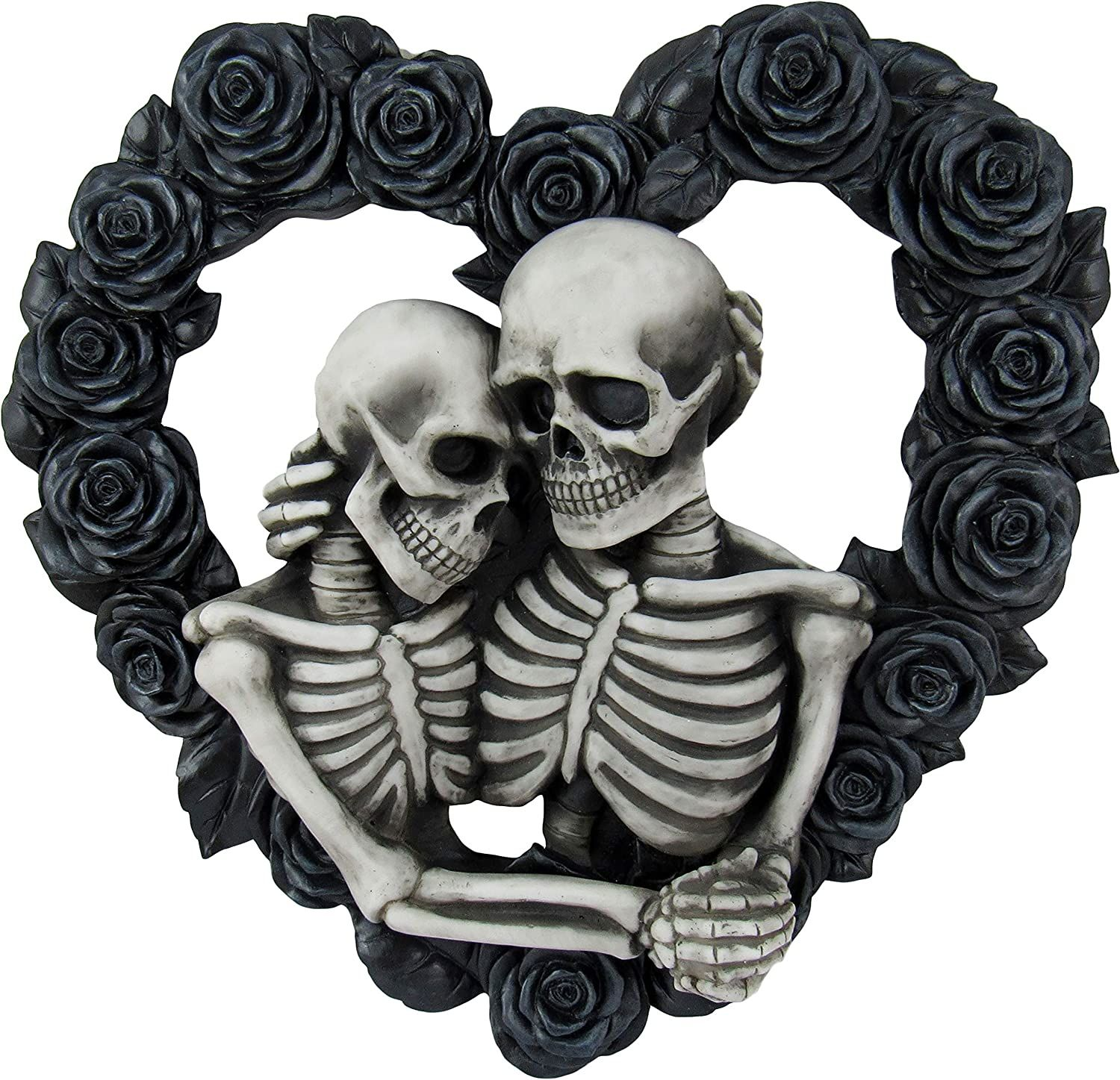 Photo of Ebros Our Love is Eternal Skeleton Lovers on Black Rose Wreath Wall Sculpture