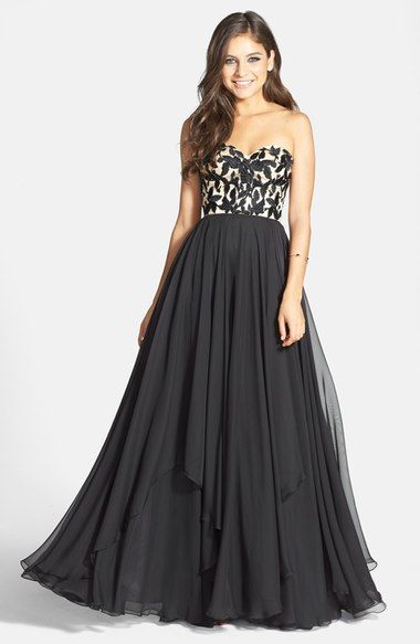 strapless chiffon dress with embroidered detail