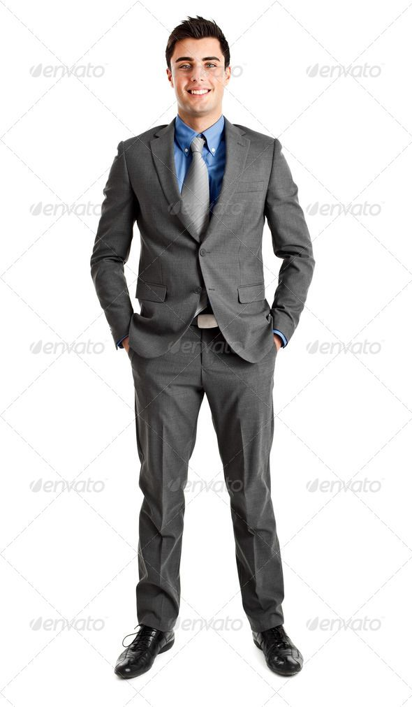 Friendly Businessman Full Length Arms Bank Banker