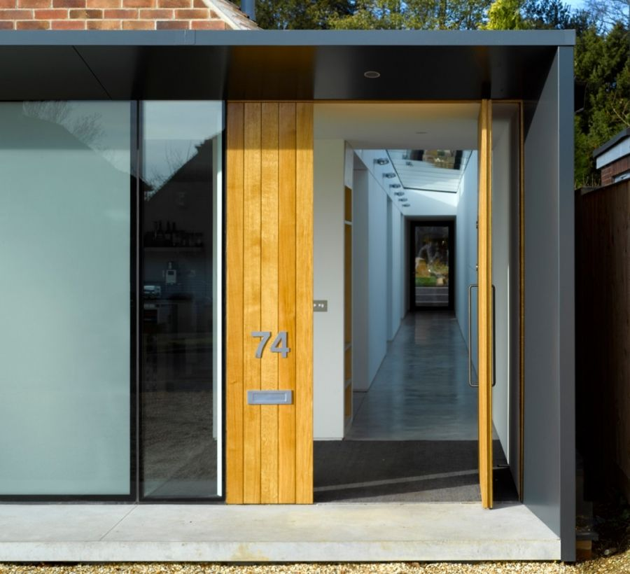 Long House Dan Brill Architects Pivot Door Canopy Modern Front