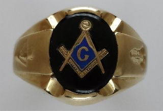 f25491403c21c 3rd Degree Blue Lodge Masonic Ring 10KT or 14KT Gold, Solid Back ...