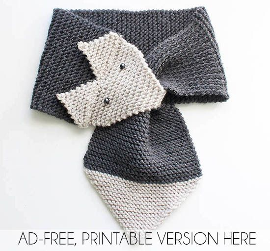 Free Fox Scarf Knitting Pattern In Womens And Childrens Sizes By