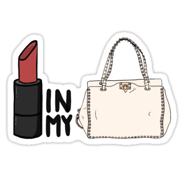 Lipstick In My Valentino White Bag Sticker By Elwwood