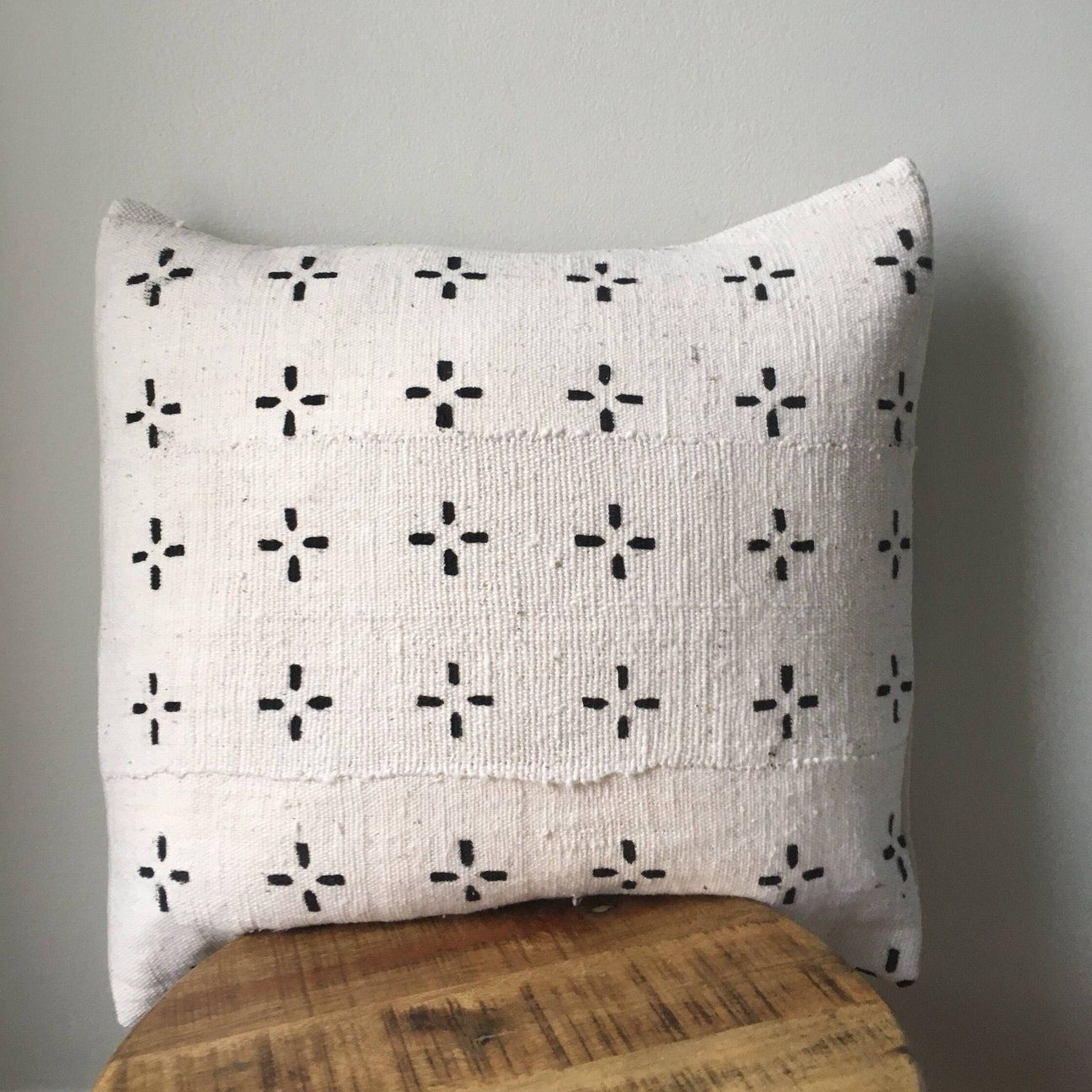 Black And White Small Tribal Cross African Mudcloth Pillow Cover Custom Made African Mudcloth Pillow White Pillow Covers Mudcloth Pillow