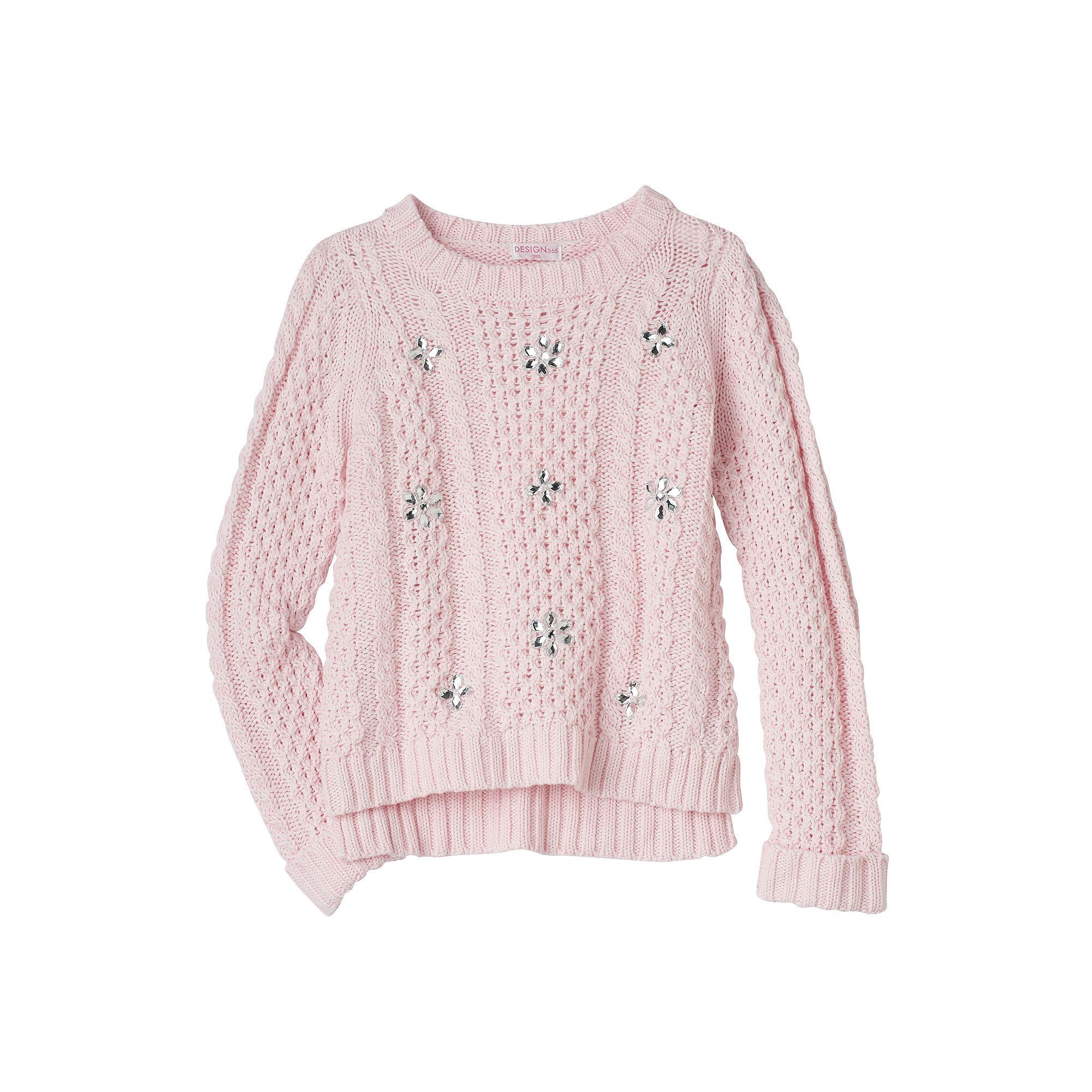 Design 365 Toddler Girl High-Low Cable Knit Sweater, Size: 2T ...
