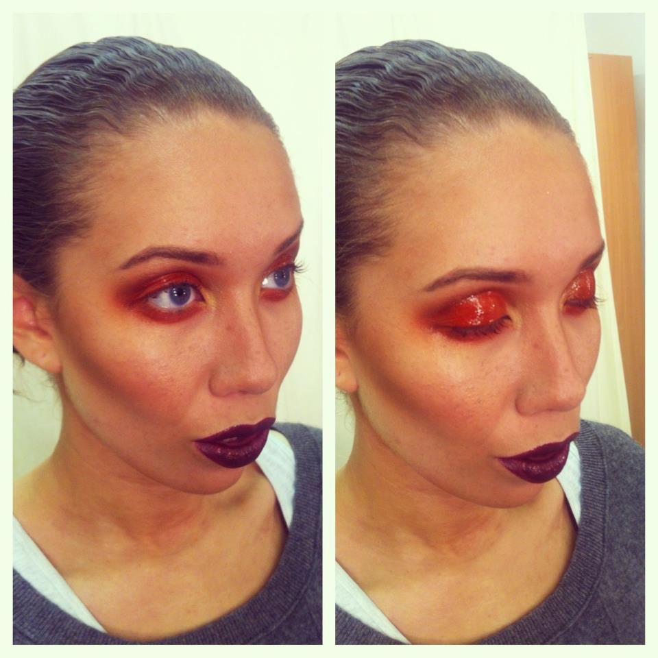 Wet look orange... beauty test with Condry Calvin Mlilio & Ruby using Sugarpill Cosmetics...