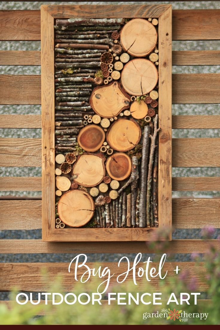 Jazz Up the Outdoors with DIY Bug Hotel Fence Art is part of Fence art, Recycled garden art, Hotel wall art, Bug hotel, Glassware garden art, Metal garden art - If you have an eyesore of a fence this Bug Hotel Fence Art is the perfect fit! Natural elements are set in a wooden frame as fourseason art