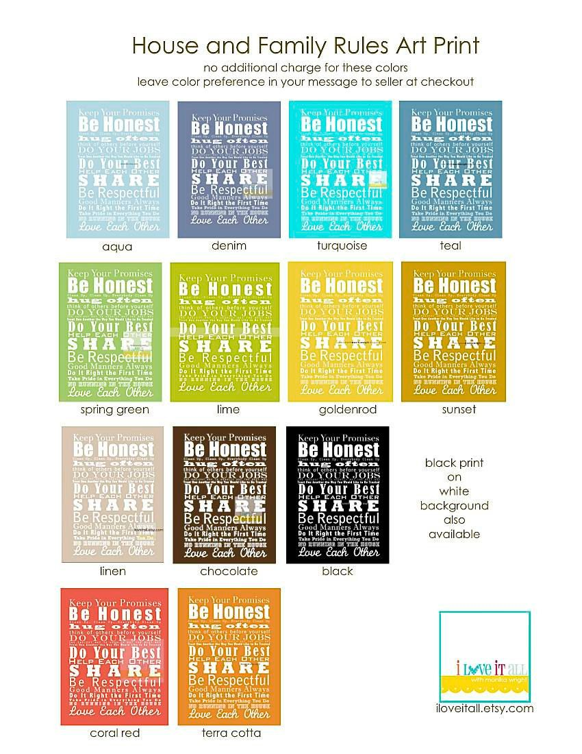 House and Family Rules Manifesto Subway Art Poster Print Scroll Roll ...