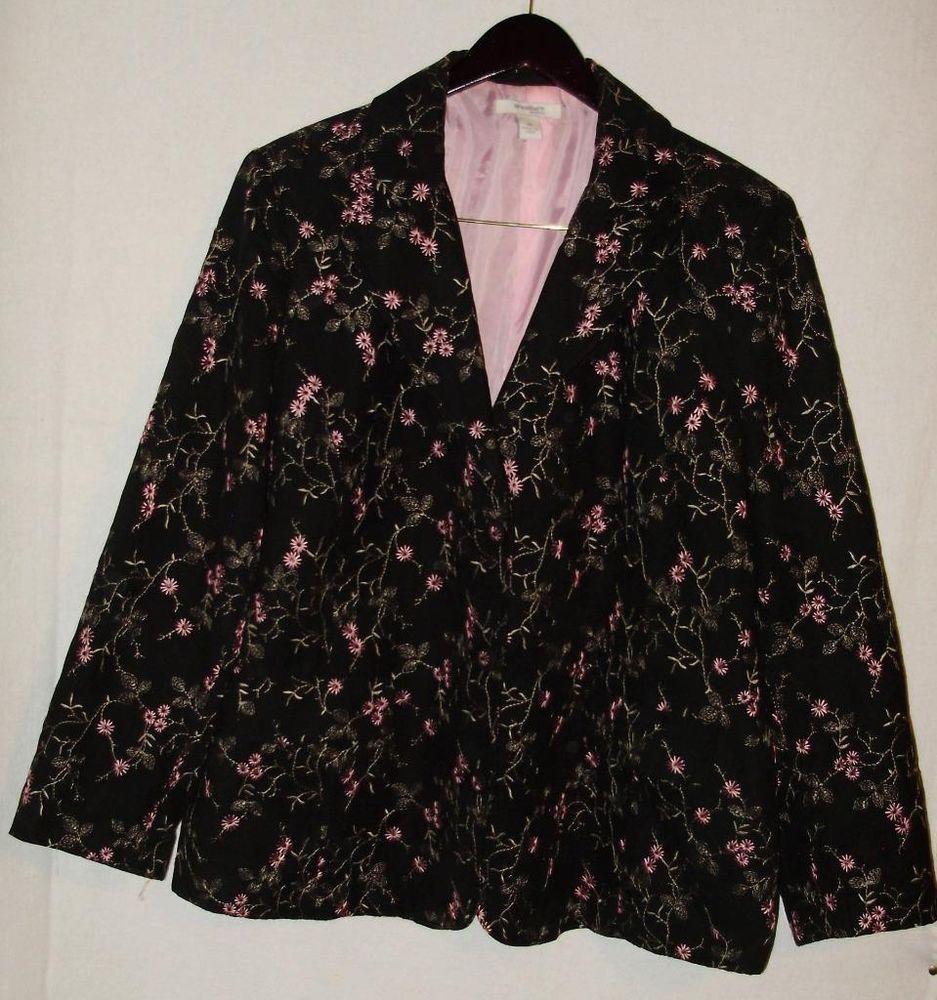 Womens plus size blazer-2X-Dressbarn black & pink floral-lined-Free Shipping #Dressbarn #Blazer